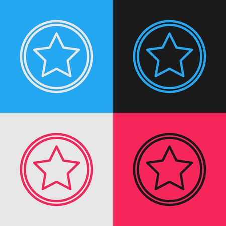 Color line Star icon isolated on color background. Favorite, best rating, award symbol. Vintage style drawing. Vector Illustration
