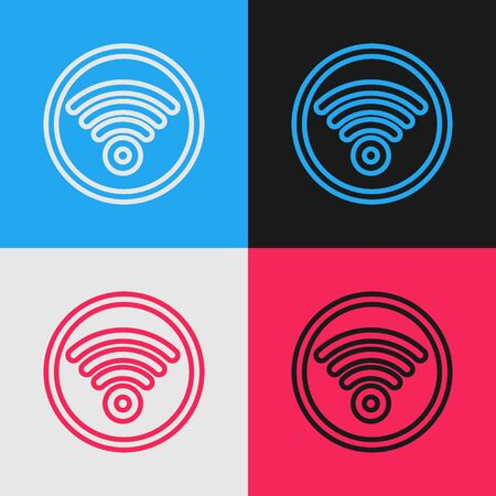 Color line WiFi wireless internet network symbol icon isolated on color background. Vintage style drawing. Vector Illustration 일러스트