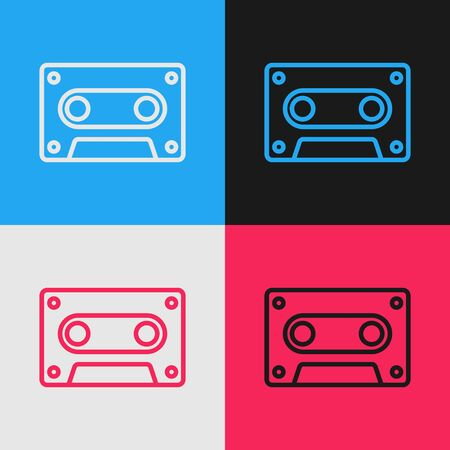 Color line Retro audio cassette tape icon isolated on color background. Vintage style drawing. Vector Illustration