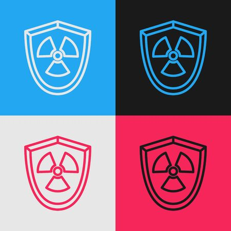 Color line Radioactive in shield icon isolated on color background. Radioactive toxic symbol. Radiation Hazard sign. Vintage style drawing. Vector Illustration