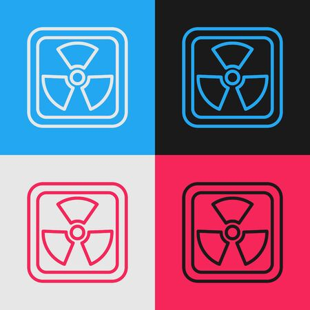 Color line Radioactive icon isolated on color background. Radioactive toxic symbol. Radiation Hazard sign. Vintage style drawing. Vector Illustration Vector Illustration