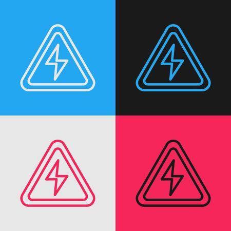 Color line High voltage sign icon isolated on color background. Danger symbol. Arrow in triangle. Warning icon. Vintage style drawing. Vector Illustration