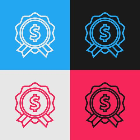 Color line Price tag with dollar icon isolated on color background. Badge for price. Sale with dollar symbol. Promo tag discount. Vintage style drawing. Vector Illustration