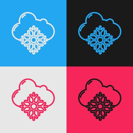 Color line Cloud with snow icon isolated on color background. Cloud with snowflakes. Single weather icon. Snowing sign. Vintage style drawing. Vector Illustration Illusztráció