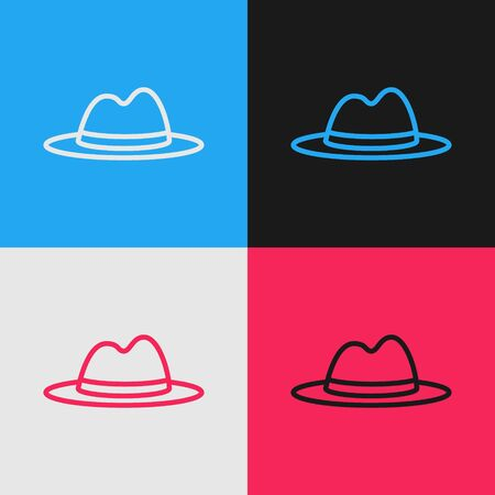 Color line Man hat with ribbon icon isolated on color background. Vintage style drawing. Vector Illustration