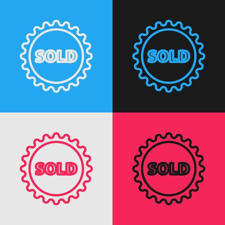 Color line Sold label icon isolated on color background. Vintage style drawing. Vector Illustration