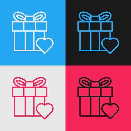 Color line Gift box and heart icon isolated on color background. Valentines day. Vintage style drawing. Vector Illustration
