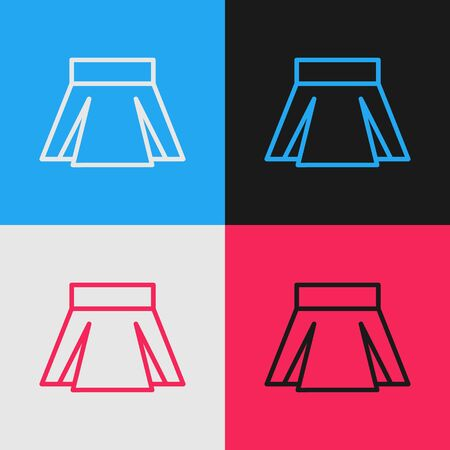 Color line Skirt icon isolated on color background. Vintage style drawing. Vector Illustration 免版税图像 - 139728868