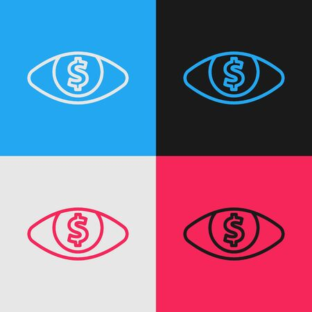 Color line Eye with dollar icon isolated on color background. Vintage style drawing. Vector Illustration 일러스트