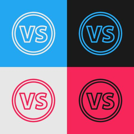 Color line VS Versus battle icon isolated on color background. Competition vs match game, martial battle vs sport. Vintage style drawing. Vector Illustration