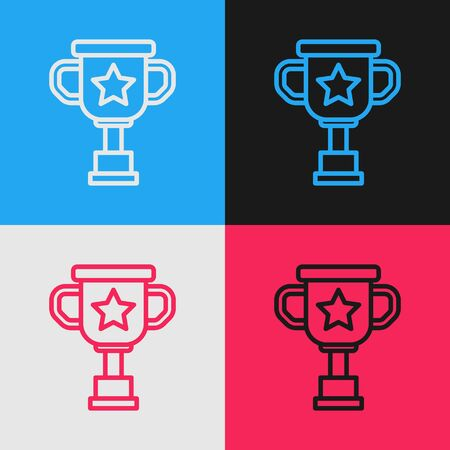 Color line Award cup icon isolated on color background. Winner trophy symbol. Championship or competition trophy. Sports achievement sign. Vintage style drawing. Vector Illustration 일러스트