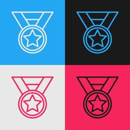 Color line Medal icon isolated on color background. Winner symbol. Vintage style drawing. Vector Illustration 일러스트