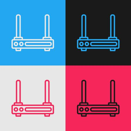 Color line Router and wifi signal symbol icon isolated on color background. Wireless modem router. Computer technology internet. Vintage style drawing. Vector Illustration
