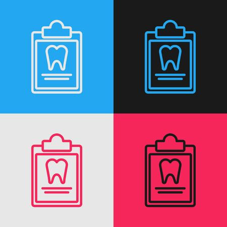 Color line Clipboard with dental card or patient medical records icon isolated on color background. Dental insurance. Dental clinic report. Vintage style drawing. Vector Illustration