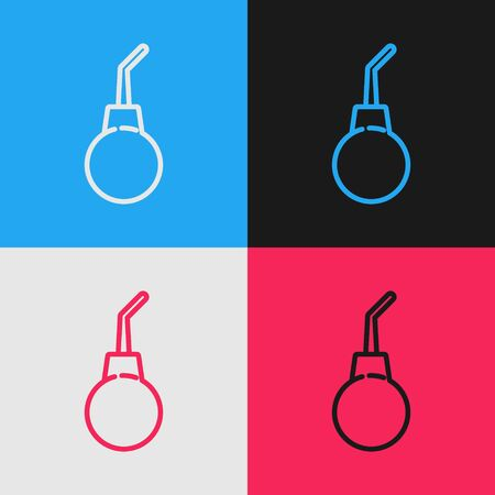 Color line Enema pear icon isolated on color background. Medical rubber pump. Vintage style drawing. Vector Illustration