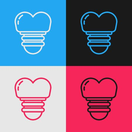 Color line Dental implant icon isolated on color background. Vintage style drawing. Vector Illustration 向量圖像