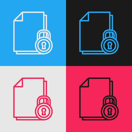 Color line Document and lock icon isolated on color background. File format and padlock. Security, safety, protection concept. Vintage style drawing. Vector Illustration Illusztráció