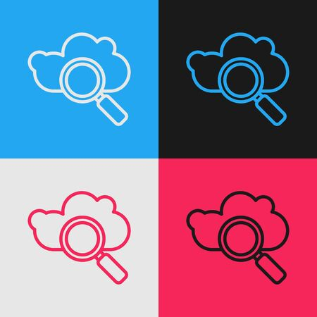 Color line Search cloud computing icon isolated on color background. Magnifying glass and cloud. Vintage style drawing. Vector Illustration Illustration