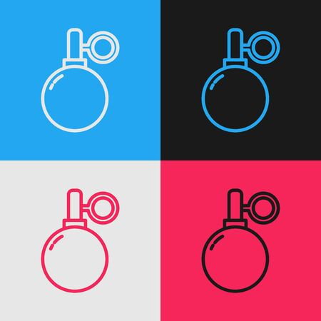 Color line Hand grenade icon isolated on color background. Bomb explosion. Vintage style drawing. Vector Illustration