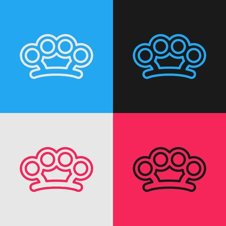 Color line Brass knuckles icon isolated on color background. Vintage style drawing. Vector Illustration Archivio Fotografico - 139729571
