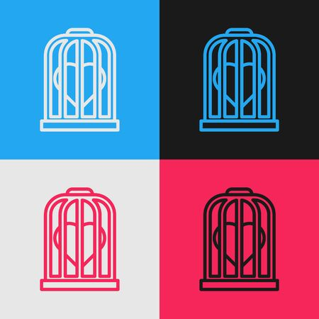 Color line Heart in the bird cage icon isolated on color background. Love sign. Valentines symbol. Vintage style drawing. Vector Illustration