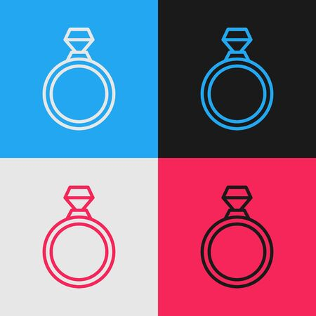 Color line Diamond engagement ring icon isolated on color background. Vintage style drawing. Vector Illustration Illusztráció