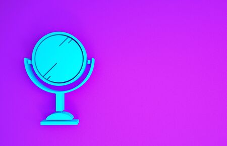 Blue Hand mirror icon isolated on purple background. Minimalism concept. 3d illustration 3D render