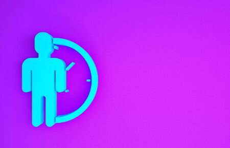 Blue Time Management icon isolated on purple background. Clock and gear sign. Productivity symbol. Minimalism concept. 3d illustration 3D render Zdjęcie Seryjne