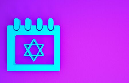Blue Jewish calendar with star of david icon isolated on purple background. Hanukkah calendar day. Minimalism concept. 3d illustration 3D render Stock Photo
