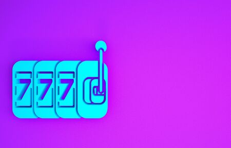 Blue Slot machine with lucky sevens jackpot icon isolated on purple background. Minimalism concept. 3d illustration 3D render