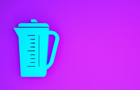 Blue Measuring cup to measure dry and liquid food icon isolated on purple background. Plastic graduated beaker with handle. Minimalism concept. 3d illustration 3D render