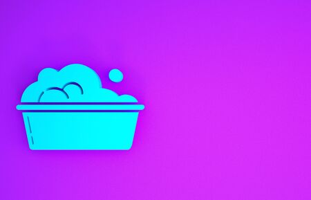 Blue Plastic basin with soap suds icon isolated on purple background. Bowl with water. Washing clothes, cleaning equipment. Minimalism concept. 3d illustration 3D render