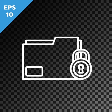 White line Folder and lock icon isolated on transparent dark background. Closed folder and padlock. Security, safety, protection concept. Vector Illustration Illusztráció