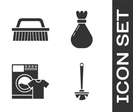Set Toilet brush , Brush for cleaning , Washer and t-shirt  and Garbage bag  icon. Vector