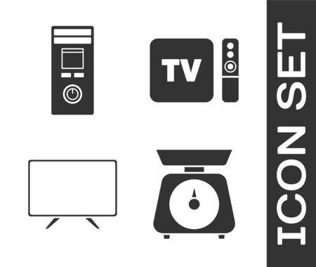 Set Scales , Remote control, Smart Tv and TV box receiver and player with remote controller icon. Vector