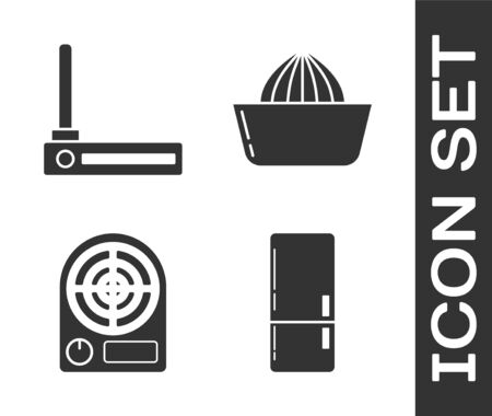 Set Refrigerator , Router and wi-fi signal , Electric heater and Citrus fruit juicer icon. Vector 일러스트