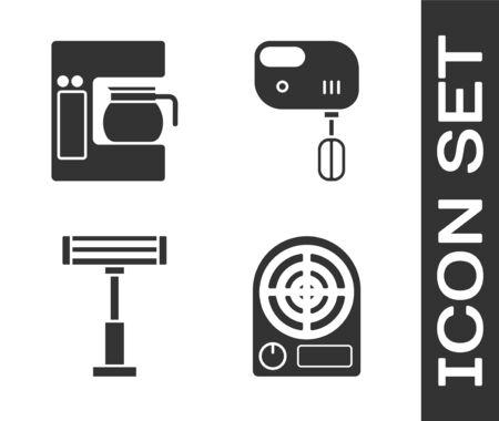Set Electric heater , Coffee machine with glass pot , Electric heater and Electric mixer icon. Vector Vektorové ilustrace