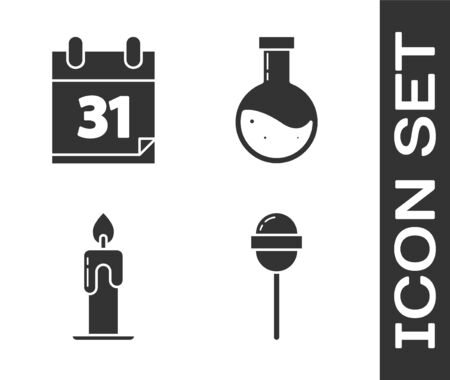 Set Lollipop , Calendar with Halloween date 31 october, Burning candle  and Bottle with potion  icon. Vector Ilustração