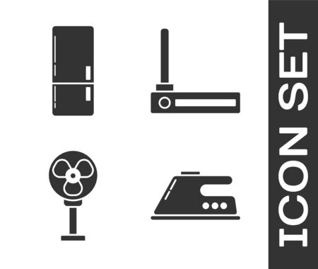 Set Electric iron , Refrigerator , Electric fan and Router and wi-fi signal icon. Vector