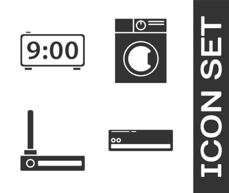 Set Air conditioner , Digital alarm clock , Router and wifi signal  and Washer  icon. Vector
