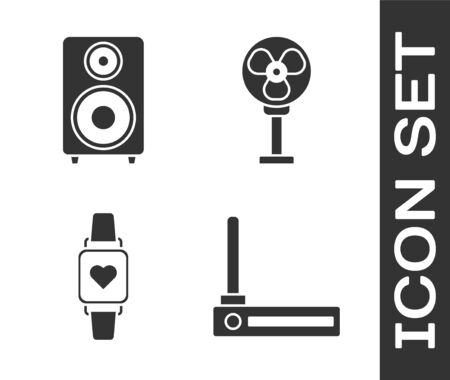 Set Router and wifi signal , Stereo speaker , Smart watch showing heart beat rate  and Electric fan  icon. Vector