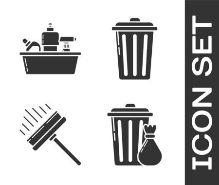 Set Trash can and garbage bag , Plastic bottles for liquid dishwashing liquid, Squeegee, scraper, wiper and Trash can  icon. Vector Stock Illustratie