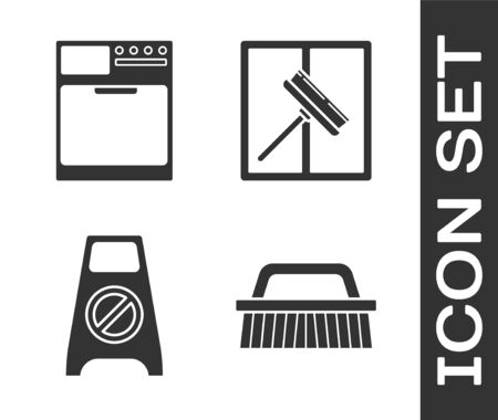 Set Brush for cleaning , Washer , Wet floor and cleaning in progress  and Squeegee, scraper, wiper icon. Vector
