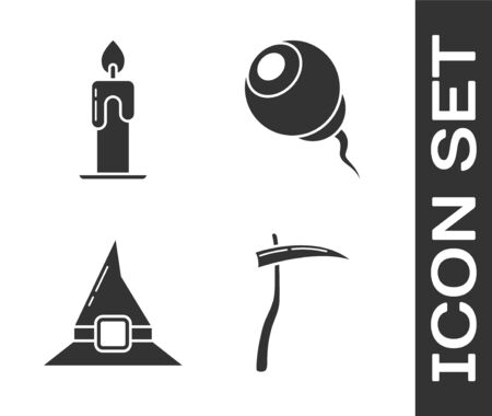 Set Scythe , Burning candle , Witch hat  and Eye  icon. Vector