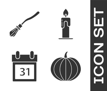 Set Pumpkin , Witches broom , Calendar with Halloween date 31 october  and Burning candle  icon. Vector