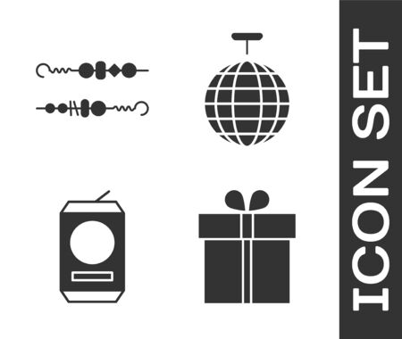 Set Gift box , Grilled shish kebab, Beer can  and Disco ball  icon. Vector Vettoriali