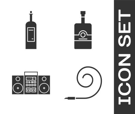 Set Birthday party horn , Bottle of wine , Home stereo with two speakers  and Whiskey bottle  icon. Vector