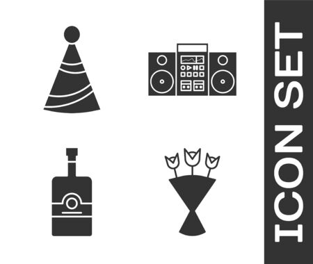 Set Bouquet of flowers , Party hat , Whiskey bottle  and Home stereo with two speakers  icon. Vector