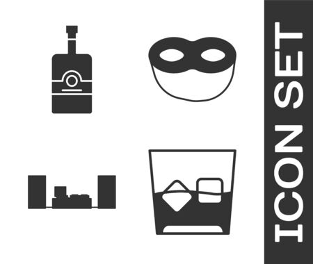 Set Glass of whiskey and ice cubes , Whiskey bottle , Home stereo with two speakers  and Festive mask  icon. Vector