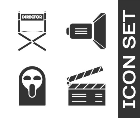 Set Movie clapper , Director movie chair , Funny and scary ghost mask and Movie spotlight icon. Vector